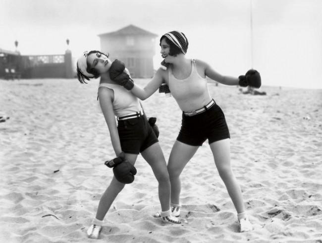 Dorothy Sebastian and Joan Crawford  Santa Monica Beach 1928