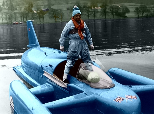 Donald Campbell practices in Bluebird on Coniston Water