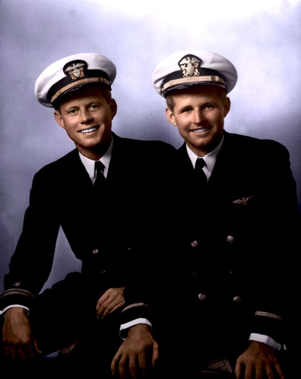 John F. Kennedy and Ensign Joseph P. Kennedy Jr., circa May, 1942
