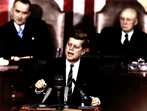 Kennedy Giving Historic Speech to Congress 25 May 1961