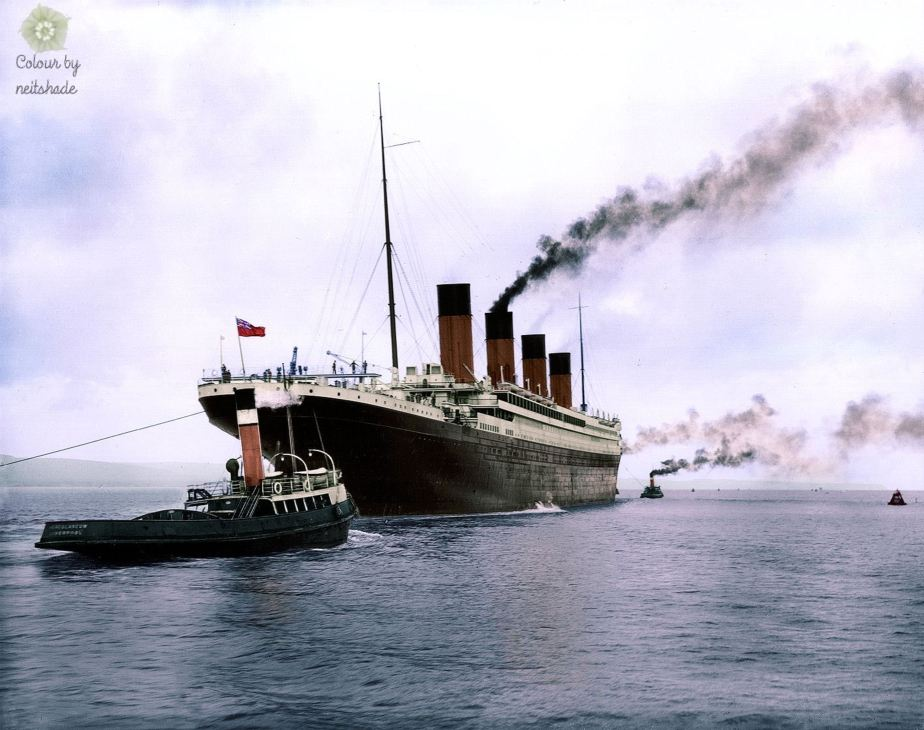 R.M.S. Titanic leaving Belfast for sea trials on April 2nd, 1912