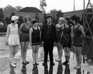 c. 1920s: Buster Keaton with Women in Swimsuits
